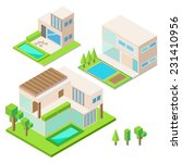 modern house isometric design... | Shutterstock .eps vector #231410956