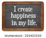 Small photo of I create happiness in my life - positive affirmation words on a vintage slate blackboard