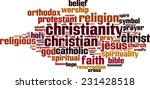 Постер, плакат: Christianity word cloud concept