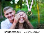 young man makes a proposal to... | Shutterstock . vector #231433060