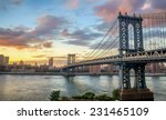 manhattan bridge at sunset | Shutterstock . vector #231465109