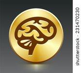 brain on gold round button | Shutterstock .eps vector #231470230