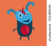blue funny creature with orange ... | Shutterstock .eps vector #231480334