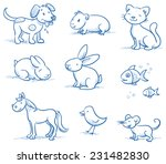 Stock vector cute set of pets dog cat horse bunny guinea pig fish bird mouse hand drawn doodle sketch 231482830