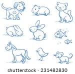 Cute Set Of Pets  Dog  Cat ...