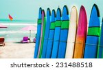 set of color surf boards in a... | Shutterstock . vector #231488518