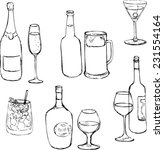 set of line drawing alcohol... | Shutterstock .eps vector #231554164