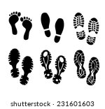 shoes and bare foot print set... | Shutterstock .eps vector #231601603