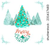 watercolor christmas background.... | Shutterstock .eps vector #231617683
