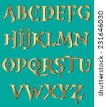 gold orient font   Shutterstock .eps vector #231646030
