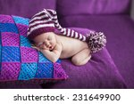 newborn baby girl in a knitted... | Shutterstock . vector #231649900