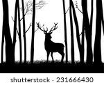 silhouette of a reindeer in the ... | Shutterstock .eps vector #231666430