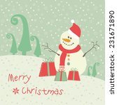 christmas card cute snowman... | Shutterstock .eps vector #231671890