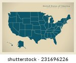modern map   usa with federal... | Shutterstock .eps vector #231696226