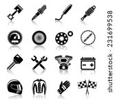 motorcycle parts black icon set ...