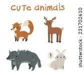 cartoon set of fox  deer  wolf  ...