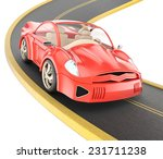 red car on curved road isolated ... | Shutterstock . vector #231711238