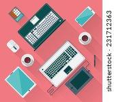 office desk with laptop ... | Shutterstock .eps vector #231712363