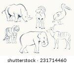 set of wild animals   pelican ... | Shutterstock .eps vector #231714460