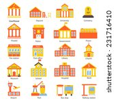 government buildings icons set...