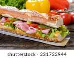 gurmet sandwich with meat and... | Shutterstock . vector #231722944