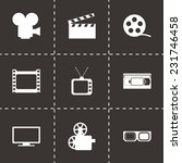 vector movie icon set on black... | Shutterstock .eps vector #231746458