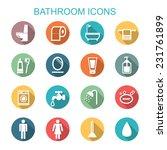 Bathroom Long Shadow Icons ...