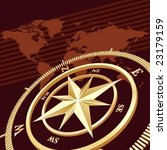gold compass with world map...   Shutterstock .eps vector #23179159