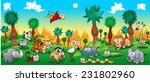 Stock vector green forest with funny wild animals vector cartoon illustration 231802960