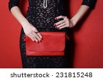 Fashionable Woman With A Red...