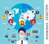 social network concept. global... | Shutterstock .eps vector #231817354