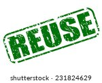 Reuse Green Stamp Text On White