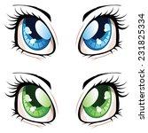 Set Of Manga  Anime Style Eyes...
