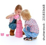 Children playing with blocks...