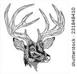 deer head tattoo. psychedelic   Shutterstock .eps vector #231848410