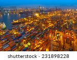 industrial port with containers | Shutterstock . vector #231898228