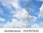 electricity post on blue sky... | Shutterstock . vector #231907624