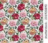 peony pattern  painting | Shutterstock .eps vector #231920890