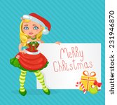 christmas girl with a christmas ... | Shutterstock .eps vector #231946870