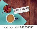 cup of coffee and cookies on... | Shutterstock . vector #231950533