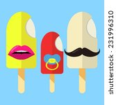 ice cream family in flat colors ... | Shutterstock .eps vector #231996310