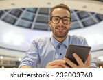 smiling businessman with... | Shutterstock . vector #232003768