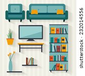 living room with furniture and... | Shutterstock .eps vector #232014556