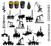 oil facilities. black and white ...   Shutterstock . vector #232018483