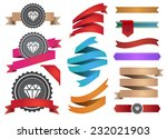 set of colorful ribbons and... | Shutterstock .eps vector #232021903