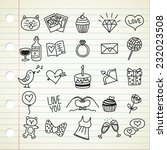set of simple valentine icon in ... | Shutterstock .eps vector #232023508
