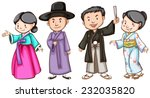 asian people wearing their... | Shutterstock .eps vector #232035820
