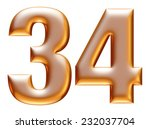 3   4 gold number on white... | Shutterstock . vector #232037704