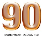 9   0 gold number on white... | Shutterstock . vector #232037710