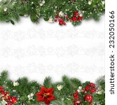 Christmas border on white background with holly,firtree,v�­scum. - stock photo